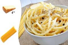 Bucatini pecorino cheese Royalty Free Stock Photos