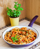 Bucatini Pomodoro with seasonal vegetables Royalty Free Stock Image
