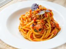 Bucatini Pomodoro (Tomato Sauce) Stock Photo
