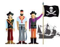 Buccaneers con la bandera y la nave de pirata ilustración del vector