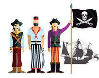 Buccaneers with pirate flag and ship Stock Photos