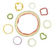 Bucce a sezione circolare assortite della verdura e della frutta Immagine Stock