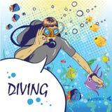 Buceador debajo del agua con el ejemplo del vector del estilo del arte pop de la escafandra autónoma con los pescados stock de ilustración