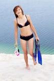 Buceador en bikini Imagen de archivo libre de regalías
