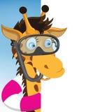 Buceador Giraffe de la historieta de la diversión que mira una página blanca en blanco ilustración del vector
