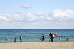 Buceador Man de la playa de Hollywood Foto de archivo