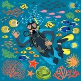 Buceador With Underwater Plants y pescados fijados stock de ilustración
