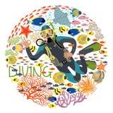 Buceador With Underwater Plants y pescados tropicales ilustración del vector
