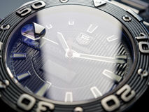 Buceador Watch de Heuer Aquaracer 500 de la etiqueta Foto de archivo