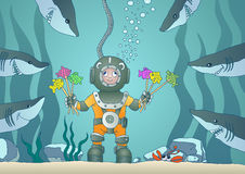 Buceador y tiburones del muchacho ilustración del vector