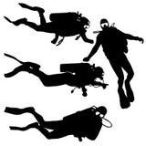 Buceadores determinados de la silueta del negro en un fondo blanco Imagen de archivo libre de regalías