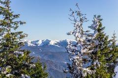 Bucegi-Berge angesehen von Postavarul-Spitze, Brasov, Siebenbürgen, Rumänien lizenzfreie stockfotografie