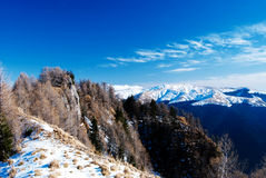 Bucegi mountains. A landscape from Bucegi Mountains, Romania, in winter season, with Baiului mountain in background stock photography