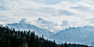 Bucegi Mountains. The crest of Bucegi Mountains as seen from Predeal -Romania stock image