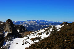 Bucegi mountains as seen from the top of the Ciucas mountains, Romania Stock Image