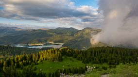 Bucegi Mountains , Bolboci lake. In the Carpathian mountains stock photos