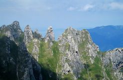 Bucegi Mountains  in central Romania with unusual rock formations Sphinx and Babele. Royalty Free Stock Photos