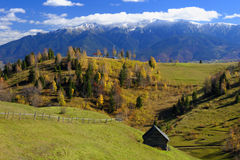 Bucegi mountains village. Scenic view of Pestera village in Bucegi mountains, Romania stock images