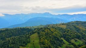 Landscape with a mountain village in the Bucegi Mountains. Stock Image
