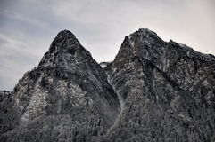 Bucegi Mountains Peaks. Two peaks in Bucegi Mountains, named Claia Mica and Claia Mare. Situated in Brasov county, Romania royalty free stock images