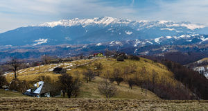 Bucegi mountains in Romania. Panorama of Bucegi mountains in Romanian Carpathians in the spring royalty free stock images