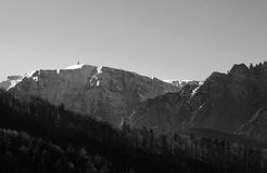 Bucegi mountains. In romania with snowy peaks in black and white stock photography
