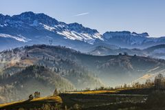 Bucegi mountains. Sunny morning landscape in the valley of Bucegi mountains range, Brasov county, Romania royalty free stock photography