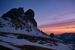Bucegi Mountains. Sunset in Bucegi National Park, Romania Royalty Free Stock Images