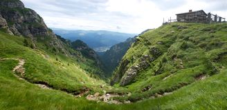 Bucegi Mountains Valley panorama Carpathians. In Romania Europe stock photography