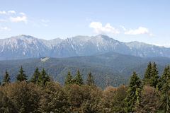 Bucegi mountains - RAW format. View to Bucegi mountains from a chalet in Predeal royalty free stock photos