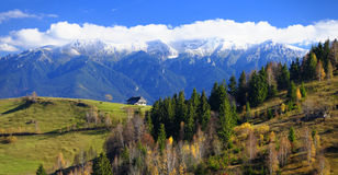 Bucegi mountain scenery. Scenic autumn fields and forest on the Buceigi mountainside, Romania royalty free stock photo