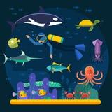 Buceo con escafandra con los pescados y el ejemplo del vector del arrecife de coral Imágenes de archivo libres de regalías