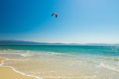 Bucerias beach and seascape, Jalisco, Mexico. A kite surfing parachute and ocean at Bucerias beach in Jalisco, Mexico stock photo