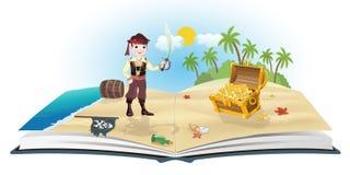 Buch über Piraten und Schatz Stockfotografie