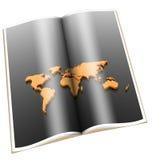 Buch 3d mit goldener Weltkarte Lizenzfreies Stockbild