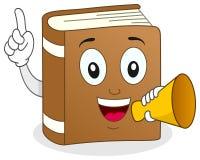 Buch-Charakter, der ein Megaphon hält Stockfotos