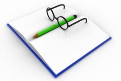 Buch 3d mit Glas und Bleistift Lizenzfreies Stockfoto