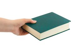 Buch in der Hand Stockfoto