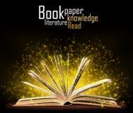 Buch. Geöffnetes Buch mit spezieller Leuchte lizenzfreie stockfotografie