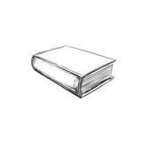 Buch Hand gezeichnete Abbildung Laptop- und Blinkenleuchte stock abbildung