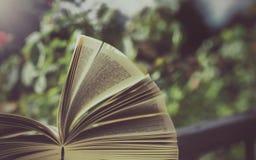 Buch im Freien in der Natur Stockfoto