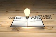 Buch kann zur Antwort der Frage, Wissen helfen ist wichtig, denken, kluges Konzept, Wissen kann das Problem, Wiedergabe 3d regeln Lizenzfreies Stockfoto