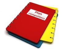 Buch mit der Beschreibungplankonkurrenz Stockbilder
