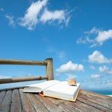 Buch mit einem Seashell Stockfotografie