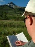 Buch mit einer Ansicht Stockfotos