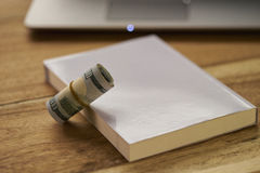Buch mit Geld und Laptop Stockfotografie