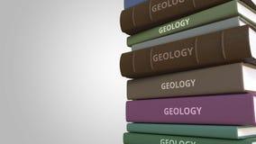 Buch mit GEOLOGIE-Titel, loopable Animation 3D stock abbildung