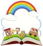 Buch mit Kindern im Park Stockfotos