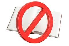 Buch mit verboten, Verbotszeichen stock abbildung