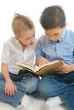 Buch mit zwei Jungen Lese lizenzfreie stockbilder